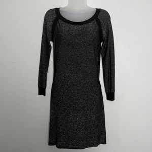 BB DAKOTA Silver Sparkle Long Sleeve Mini Dress